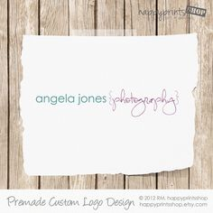 Premade Photography Logo - Custom Logo & Watermark - Brackets With Script Font - Customized With Your Business Name. $35.00, via Etsy.
