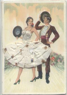 Fabric & Embroidery Sevillanas Dance Couple Spain Novelty Postcard | eBay