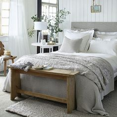 Beautiful bedroom Credit: @thewhitecomy  presented by SuperiorCustomLinens.com