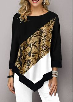 Women Fashion Printed Casual Irregular Hem Round Neck Sleeves Plus Size Leopard Print T-Shirt Loose Pullover Autumn Winter Blouse Winter Blouses, Leopard Blouse, Trendy Tops For Women, Fashion Prints, Tunic Tops, Plus Size, Sleeves, Clothes, Quarter Sleeve