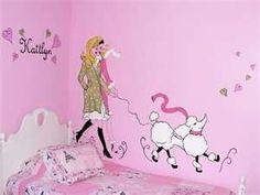 paris theme mural for girls room