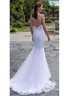 Alluring Tulle Spaghetti Straps Neckline Mermaid Wedding Dresses With Beadings