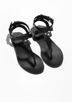 & Other Stories image 2 of T-Strap Leather Sandals in Black Flat Sandals, Leather Sandals, Boots Online, T Strap, Girls Shoes, Men's Sneakers, Personal Style, Loafers, Footwear