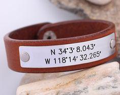 Latitude Longitude GPS Leather Bracelet  Hand Stamped Leather