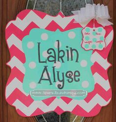 This personalized, hand-painted, wooden, door hanger welcomes your new addition! This can be used for the baby shower, in the hospital and when you bring your bundle of joy home as well. Personalized Chevron & Polkadot Baby Sign For by Sparkled Whimsy Front Door/Back Door Over Garage, Porch/Deck Party Decoration Birthday Gift or Decoration Hostess Gift Bridal Shower Gift Baby Shower Gift or Decoration Hospital Door Decoration Christmas Gift or Decoration Classroom Decoration Dorm Room…