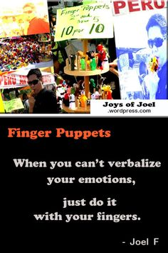 Finger lickin' good and it's not even a food. Peruvian arts and crafts that would make your fingers look good. The Finger Puppets in assorted colors and designs at such a reasonable pri… Peruvian Art, Weird Stories, Finger Puppets, Just Do It, Kids Playing, Poems, Arts And Crafts, Joy, Make It Yourself