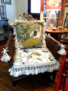 """""""MERMAIDS CHAIR""""...hand stitched and beaded"""