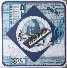 """""""You rock!"""" stempel van Joy en plaatje en papier van Amy Design Sounds of music #4"""