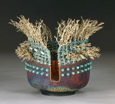 Karen Pierce fibers in collaboration with Mark Pierce ceramics