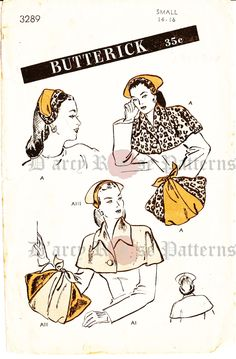Butterick 3289 Vintage 1940s Hat, Capelet and Muff Sewing Sewing Pattern RARE by DRCRosePatterns on Etsy
