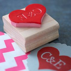 initial heart stamp