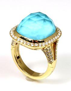 """Riviera"" Turquoise, Quartz, and Diamond Ring with Superfit Shank - Wilsonville Diamond"