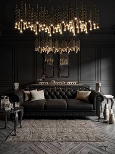 Elegant black and white living room decor with black tufted sofa Beautiful Black and White living ro Black And White Living Room Decor, Dark Living Rooms, Luxury Living Rooms, Dark Rooms, Black Decor, White Decor, Luxury Home Decor, Luxury Homes, Black Interior Design