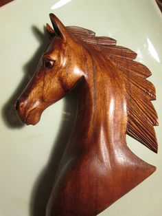 "HORSE, sculpture ""Majestic""  handcarved to mark the Chinese zodiac year of the horse 10"" tall and richly stained bees wax finish"