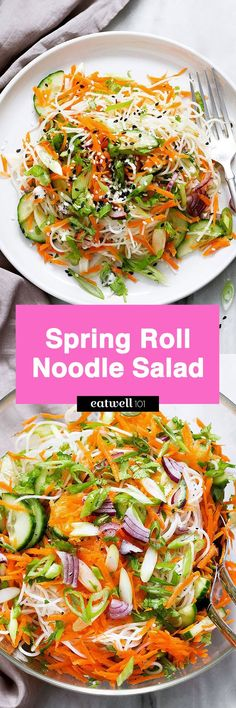 A light, bright noodle salad packed with protein and vitamins and perfect for spring nights. Crisp carrots, scallion, red onion, cucumber and cilantro are served over a bed of rice noodles tossed with sesame seeds and a drizzle of honey-ginger vinaigrette.