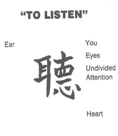 "The Chinese character for ""listening attentively"" consists of five characters: - the character for ear - for standing still - for ten - for eye, and - for heart and mind. Chinese characters are really picturegrams: they are pictures that have evolved to describe a certain situation. Therefore, listening attentively means: ""When in stillness, one listens with the heart. The ear is worth ten eyes."" -- Zen Master Dae Gak, ""The Practice of Listening"""