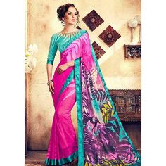 http://www.thatsend.com/ate/shopping/lp/fvp/TESG136200/i/TE178568/iu/magenta-georgette-casual-saree  Magenta Georgette Casual Saree Apparel Pattern Printed. Work Print, Border Lace. Blouse Piece Yes. Occasion Festive, Diwali. Top Color Blue.