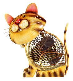 hand held cat fans | Country Cat Small Hand Painted Metal Figurine Desk Fan by…