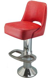 This is a current model floor mounted bar stool and is as durable as it looks.  Starting at $249.95.