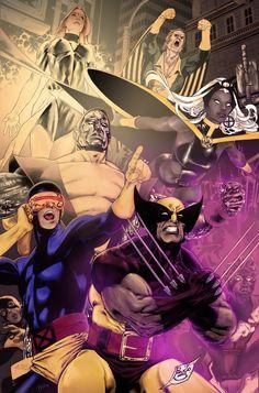 "Byrne´s X-Men team! Lineart by Paulo Siqueira. Coloured by Przemyslaw ""Heksagon"" Slowinski."
