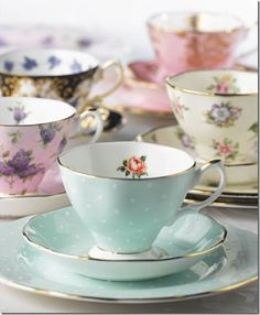 Tea tastes better in a pretty cup! Celebrating 100 Years of Royal Albert Teaware. Each design has been selected from the Royal Albert archives to represent a decade of the last 100 years. Rosen Tee, China Tea Cups, My Cup Of Tea, Tea Cup Art, Vintage China, Vintage Teacups, Tea Sets Vintage, Vintage Coffee, Royal Albert