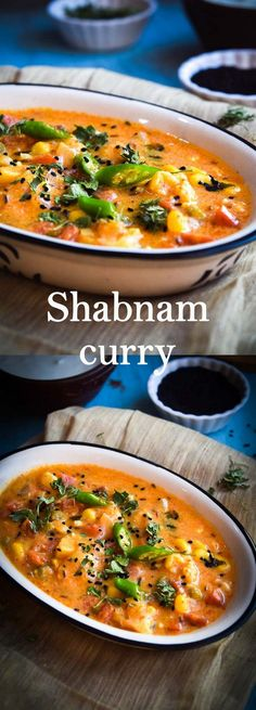 Shabnam curry, Indian curry dish preprared by simmering vegetables in fragrant tomato and yogurt based sauce Veg Recipes, Curry Recipes, Indian Food Recipes, Healthy Dinner Recipes, Vegetarian Recipes, Indian Vegetable Recipes, Indian Snacks, Fast Recipes, Diabetic Recipes