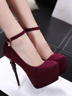 a24d000ad1df Burgundy Round Toe Stiletto Heels Ankle Strap Black Pumps  shoes   shoesaddict  shoeslover