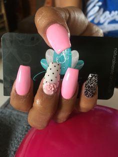 Acrylic Nails, Nails art, pink nails