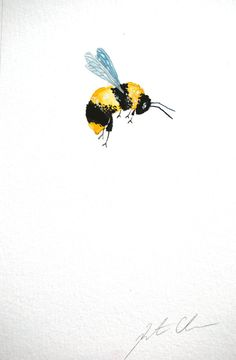 Watercolor Painting Original Painting Bumble Bee 6x9 by WoodPigeon, $20.00