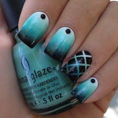 I Took This Glaze Polish And Put It On 2 Coats.Then Put Like Black on it.And then just Spread Back Over The blue.And added the dot.Then I Used Stripping Tape For The 2nd.
