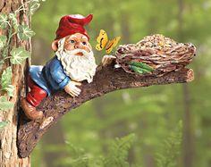 Gnome on Tree Branch Novelty Birdfeeder