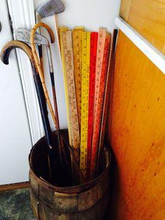 Vintage wood golf clubs, canes, auto dealer yard sticks in a bail keg. Yard Sticks, Woods Golf, Guy Stuff, Canes, Vintage Wood, Golf Clubs, Antique Wood, Walking Canes