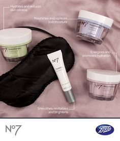 Night creams work to replenish your skin while you sleep. Our No7 line has one for every skin type.