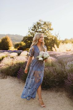 A Guide To Bridesmaids Dresses. Picking bridesmaids gowns is no simple job, but it is among the most interesting and typically the most emotional parts of the wedding planning proc Engagement Photo Dress, Engagement Dresses, Engagement Pictures, Lace Maxi Romper, Lace Dress, Lace Skirt Outfits, Cute Dresses, Beautiful Dresses, Dusty Blue Dress