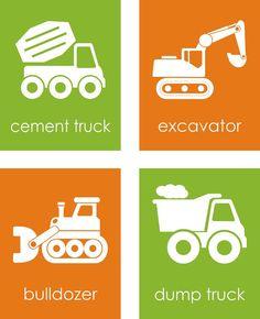 Construction Truck Wall Art - Boys Bedroom Decor - Cement Truck, Excavator, Bulldozer, Dump Truck, Boys Nursery Art - Set of 4 8x10