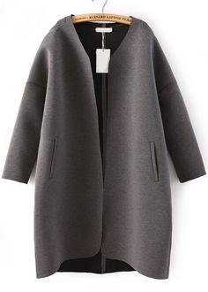 Vintage Collarless Pockets Loose Grey Coat by: ROMWE
