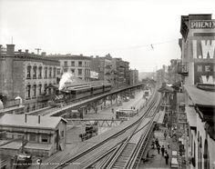 "New York circa 1900. ""The Bowery near Grand Street."""