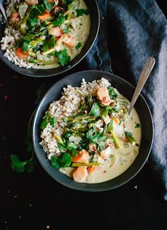 Thai Green Curry With Spring Vegetables With Brown Basmati Rice, Coconut Oil, White Onion, Fresh Ginger, Garlic, Salt, Asparagus, Carrots, Thai Green Curry Paste, Coconut Milk, Water, Coconut Sugar, Baby Spinach, Rice Vinegar, Soy Sauce, Chopped Fresh Cilantro