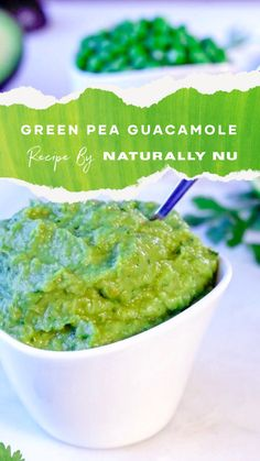 Peas add a sweet earthy flavour to your guacamole. In 15 minutes or less, you'll have an appetizer or snack that will wow your guests, family and yourself. Green Pea Guacamole Recipe, A Food, Good Food, Gluten Free Tortillas, Daily Fiber, Snack Recipes, Snacks, Green Peas, Tortilla Chips