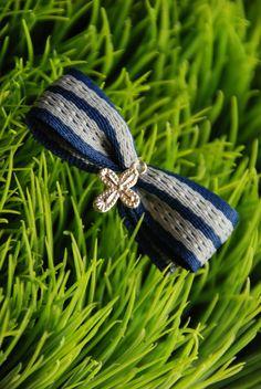 Navy Bow Martirika - Boy's Christening Witness Pin sent to United Kingdom