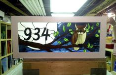 Stained Glass Transom Window Owl and the by TerrazaStainedGlass, $375.00