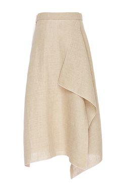 This linen **Maison Rabih Kayrouz** skirt features a high waist, an asymmetrical silhouette, and a midi length hem.