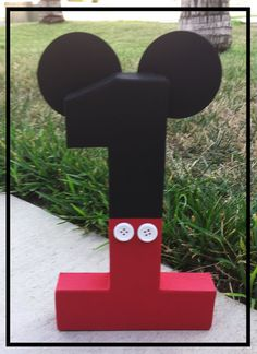 "Mickey Mouse inspired photo prop, mickey mouse birthday decor, number photo prop, 8"" paper mache numbers, birthday number props, Photo prop"