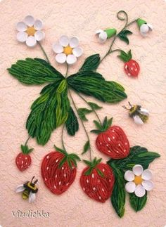 ~The Art of Paper Quilling~ (Strawberries on a vine) Arte Quilling, Quilling Craft, Quilling Patterns, Quilling Designs, Paper Quilling Tutorial, Diy And Crafts, Paper Crafts, Quilling Techniques, Paper Cutting