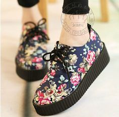 Floral Lace Up Flatform Creeper Shoes