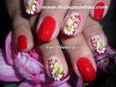 Daisy Nails, Flower Nails, Red Nails, Exotic Nails, Fall Nail Colors, Nail Arts, Short Nails, Summer Nails, Fall Nails
