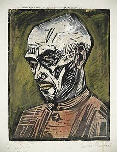 Erich Heckel was a German artist and founding member of the influential German Expressionist group Die Brücke. His angular woodcuts and paintings, described both the chromatic world and the inner emotions of the artist, as seen in his work Roquairol Expressionist Portraits, Degenerate Art, Ernst Ludwig Kirchner, Stencil Art, Art Graphique, Linocut Prints, Oeuvre D'art, Figurative Art, Painting & Drawing