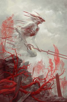 Gadreel, Angel of War, Peter Mohrbacher on ArtStation at https://www.artstation.com/artwork/gadreel-angel-of-war