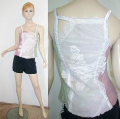 KIMCHI & BLUE 100% Cotton Green Pink Tie Dye Floral Lace Stretchy Tank Top M