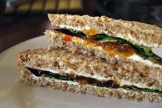 Cream cheese and pepper jelly whole wheat sandwich. Simple. Yummy.